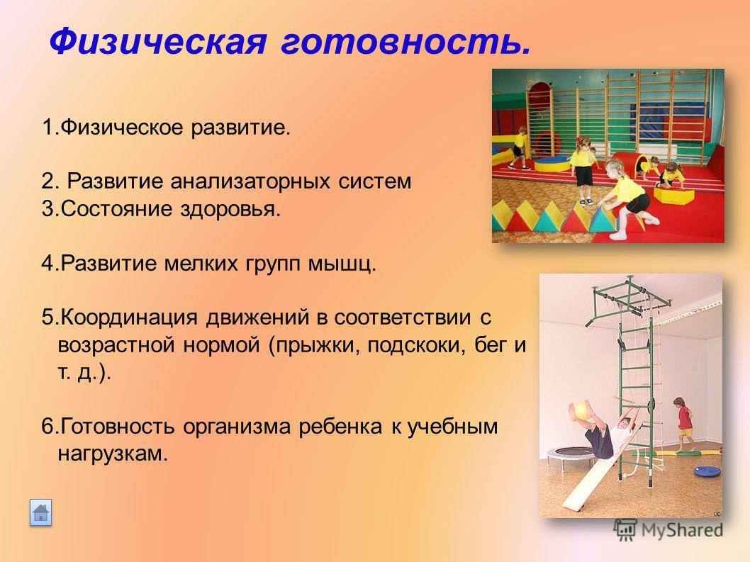 Физическая готовность. 1. Физическое развитие. 2. Развитие анализаторных систем 3. Состояние здоровья. 4. Развитие мелких групп мышц. 5. Координация движений в соответствии с возрастной нормой (прыжки, подскоки, бег и т. д.). 6. Готовность организма