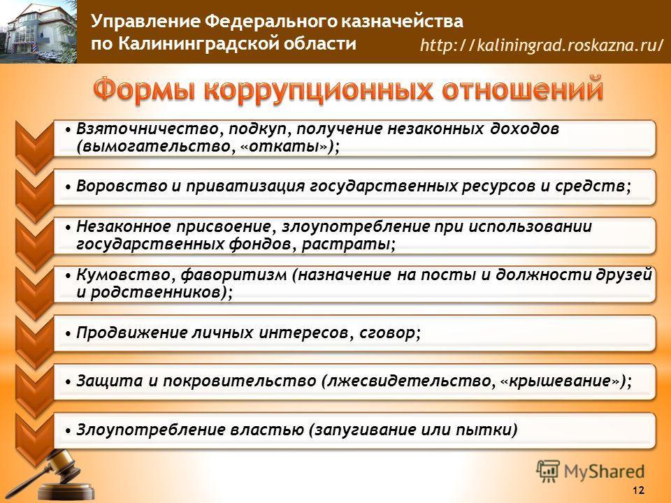 Управление Федерального казначейства по Калининградской области http://kaliningrad.roskazna.ru/ Взяточничество, подкуп, получение незаконных доходов (вымогательство, «откаты»); Воровство и приватизация государственных ресурсов и средств; Незаконное п