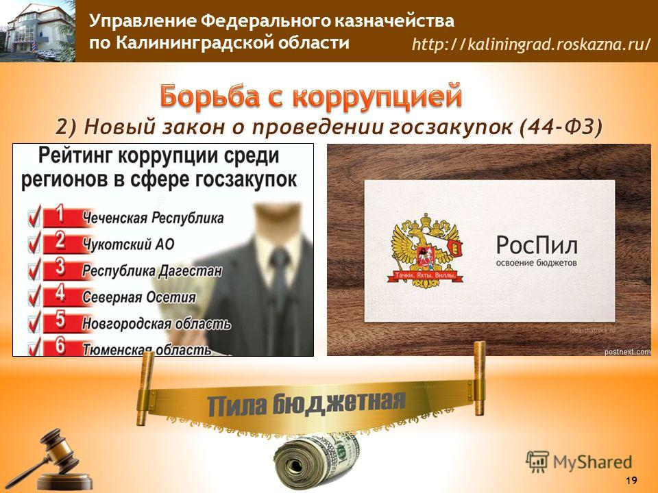 Управление Федерального казначейства по Калининградской области http://kaliningrad.roskazna.ru/ 19