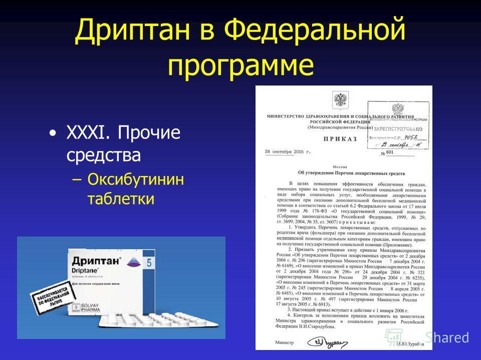 Дриптан в Федеральной программе XXXI. Прочие средства –Оксибутинин таблетки