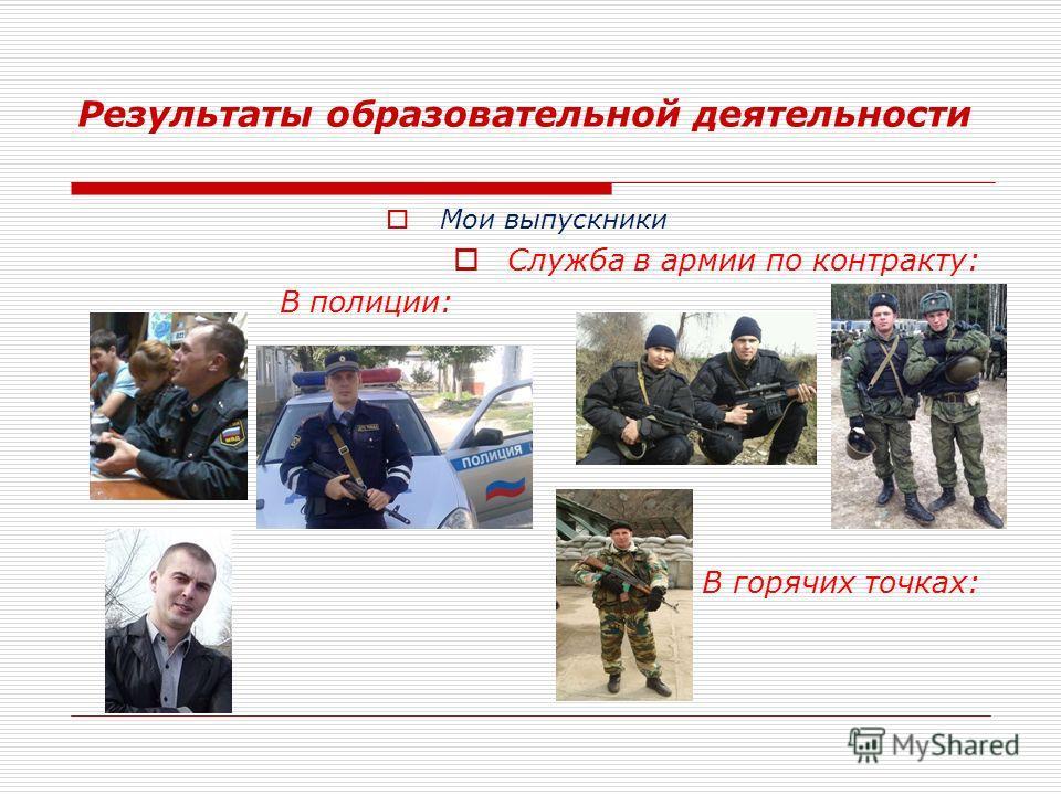 Результаты образовательной деятельности Мои выпускники Служба в армии по контракту: В полиции: В горячих точках: