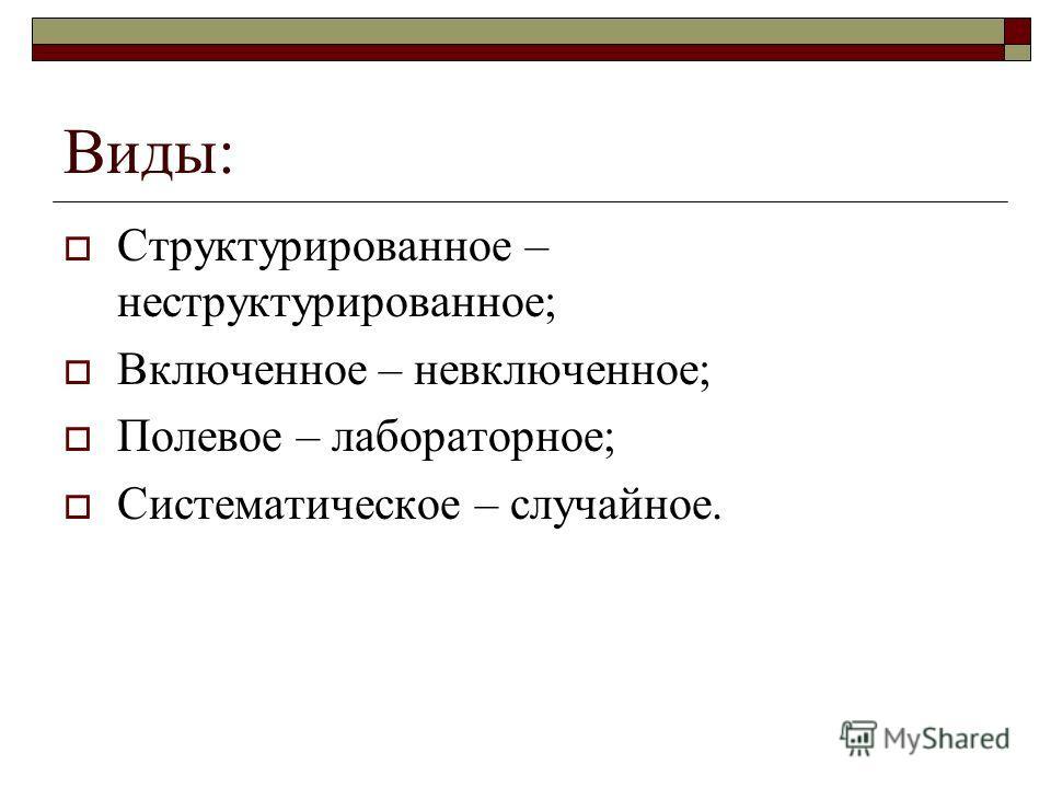 Виды: Структурированное – неструктурированное; Включенное – невключенное; Полевое – лабораторное; Систематическое – случайное.