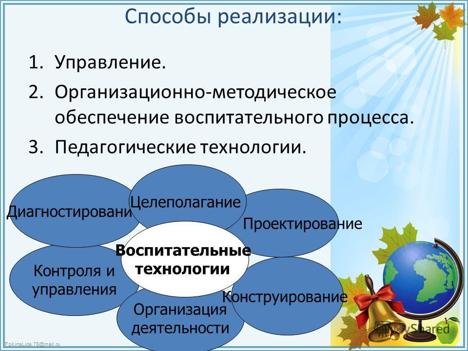 FokinaLida.75@mail.ru Способы реализации: 1.Управление. 2.Организационно-методическое обеспечение воспитательного процесса. 3. Педагогические технологии. Контроля и управления Организация деятельности Конструирование Проектирование Диагностирование Ц