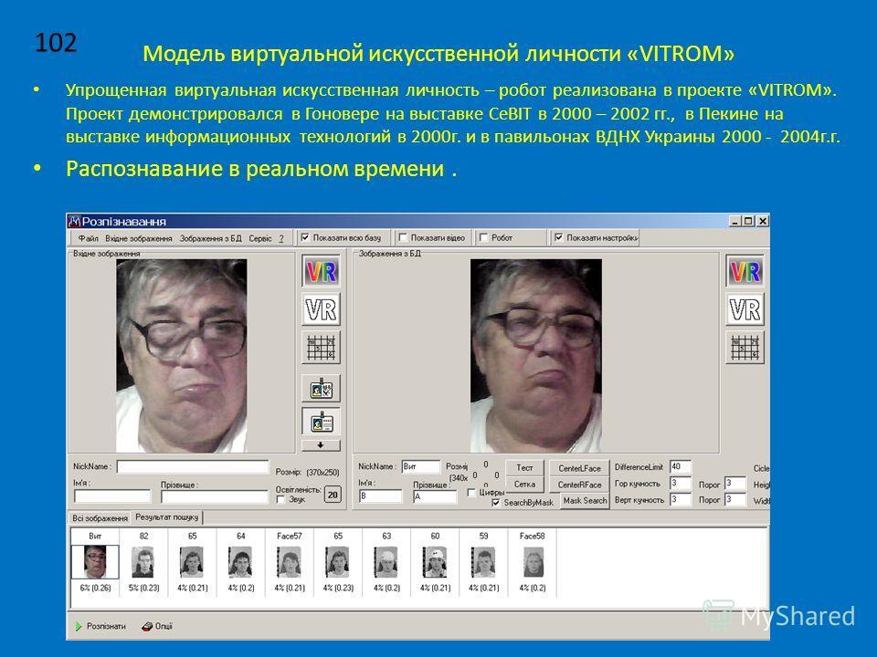 Модель виртуальной искусственной личности «VITROM» Упрощенная виртуальная искусственная личность – робот реализована в проекте «VITROM». Проект демонстрировался в Гоновере на выставке CeBIT в 2000 – 2002 гг., в Пекине на выставке информационных техно