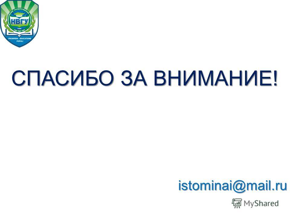 СПАСИБО ЗА ВНИМАНИЕ! istominai@mail.ru