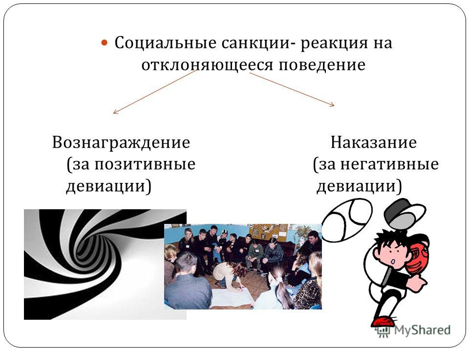 Социальные санкции - реакция на отклоняющееся поведение Вознаграждение Наказание ( за позитивные ( за негативные девиации ) девиации )