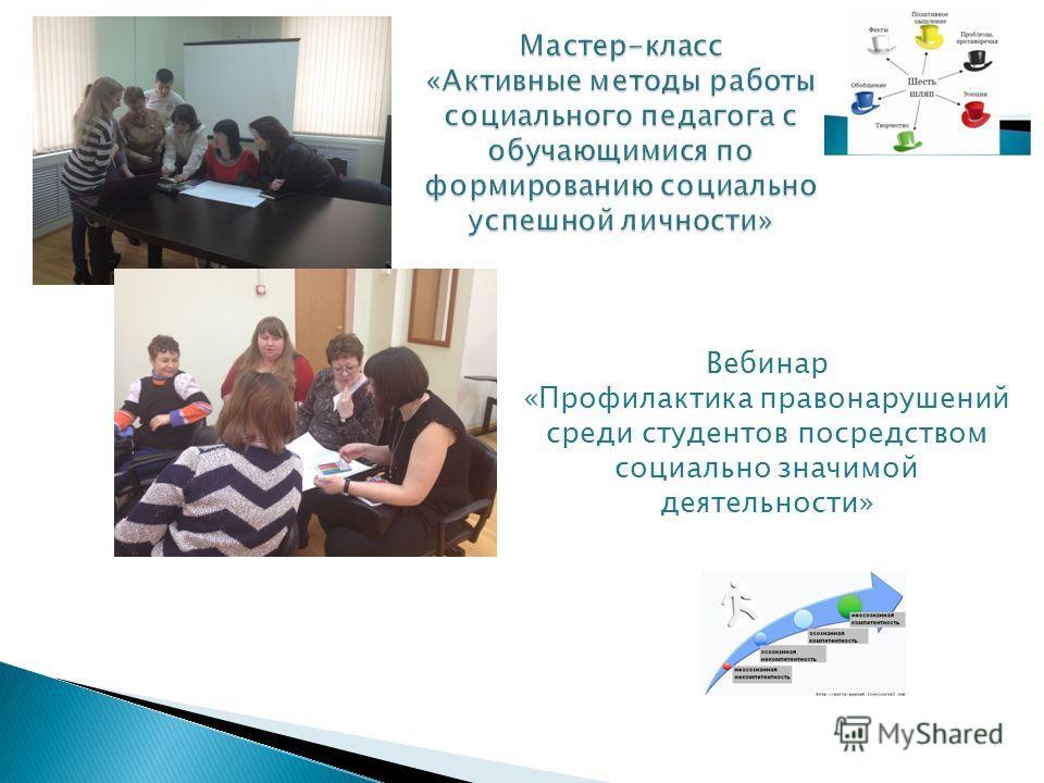 Вебинар «Профилактика правонарушений среди студентов посредством социально значимой деятельности»