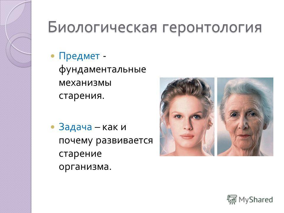Биологическая геронтология Предмет - фундаментальные механизмы старения. Задача – как и почему развивается старение организма.