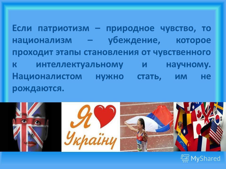 Национализм и патриотизм Национализм - идеология, система взглядов, постулирующая ценность нации как высшей формы общественного единства и имеющую большую социально-политическую и социально-бытовую направленность, это любовь к своему народу и своей з