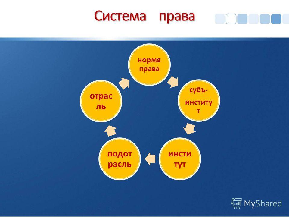 Система права норма права субъ- институт подотрасль отрасль