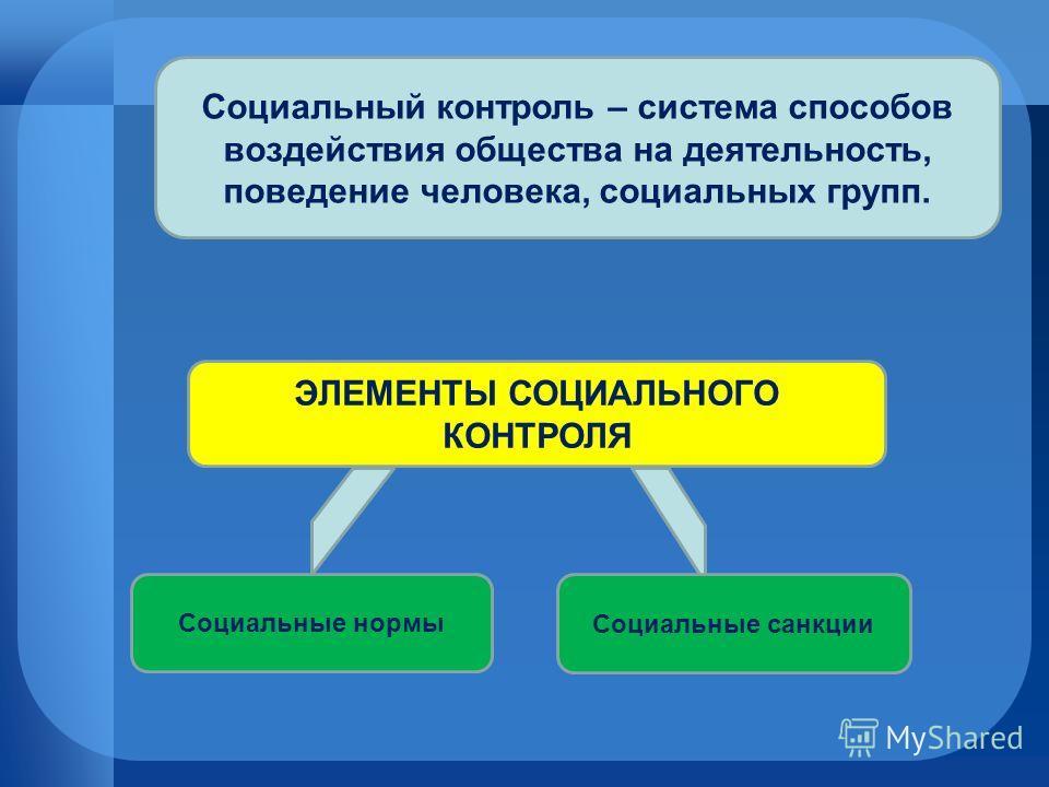 Социальный контроль – система способов воздействия общества на деятельность, поведение человека, социальных групп. ЭЛЕМЕНТЫ СОЦИАЛЬНОГО КОНТРОЛЯ Социальные нормы Социальные санкции