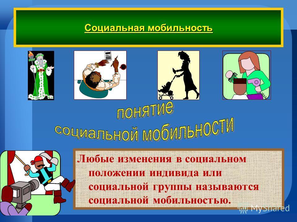 Социальная мобильность Любые изменения в социальном положении индивида или социальной группы называются социальной мобильностью.