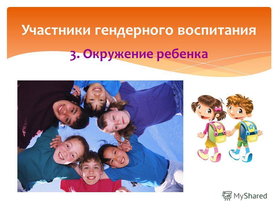 3. Окружение ребенка Участники гендерного воспитания