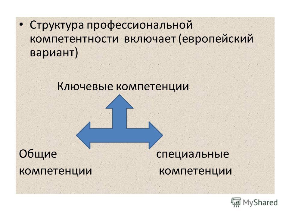 Структура профессиональной компетентности включает (европейский вариант) Ключевые компетенции Общие специальные компетенции