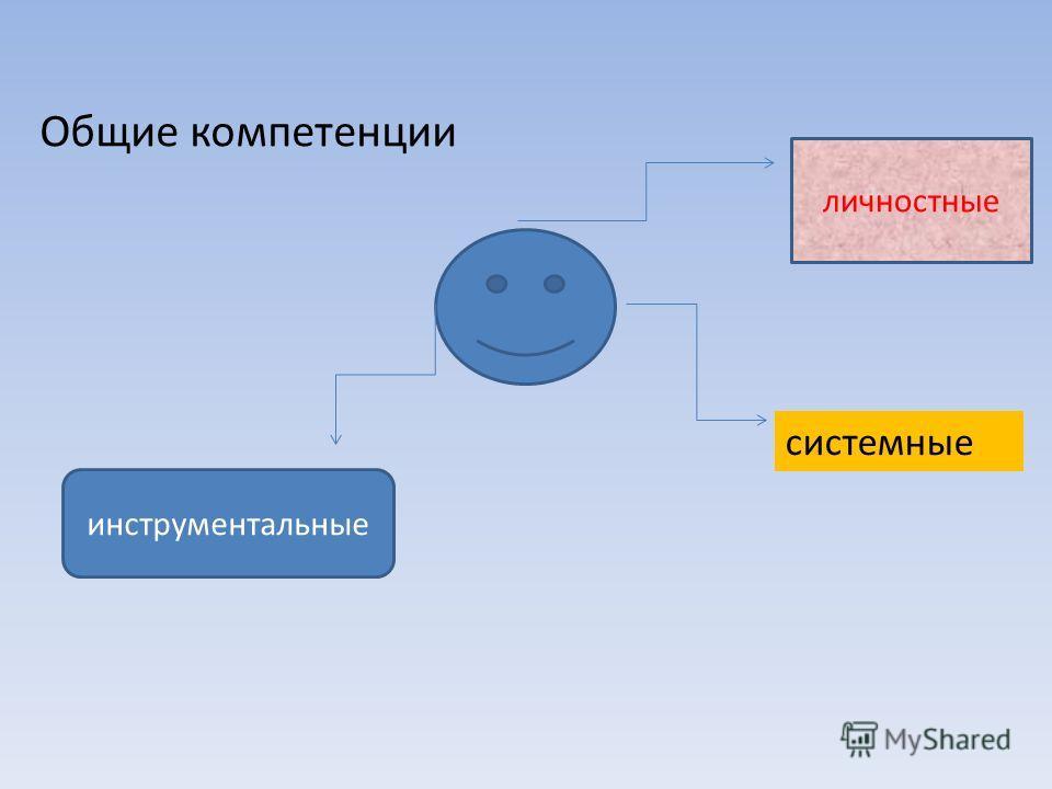 Общие компетенции системные инструментальные личностные