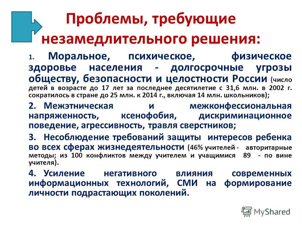 Проблемы, требующие незамедлительного решения: 1. Моральное, психическое, физическое здоровье населения - долгосрочные угрозы обществу, безопасности и целостности России (число детей в возрасте до 17 лет за последнее десятилетие с 31,6 млн. в 2002 г.