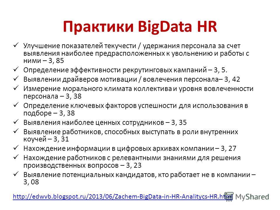 Практики BigData HR Улучшение показателей текучести / удержания персонала за счет выявления наиболее предрасположенных к увольнению и работы с ними – 3, 85 Определение эффективности рекрутинговых кампаний – 3, 5. Выявлении драйверов мотивации / вовле