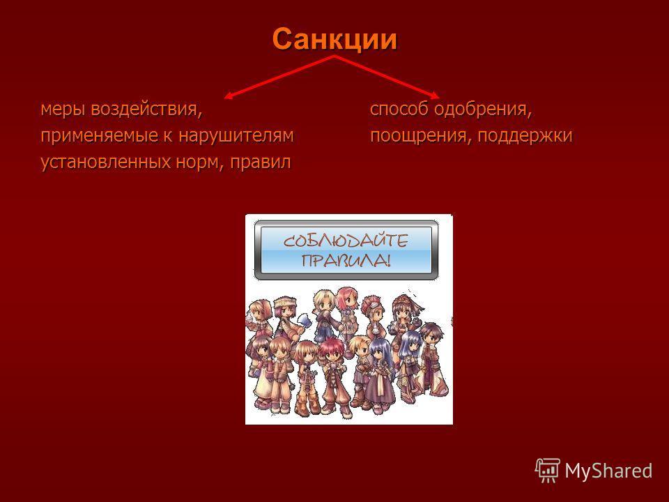 Санкции меры воздействия, применяемые к нарушителям установленных норм, правил способ одобрения, поощрения, поддержки