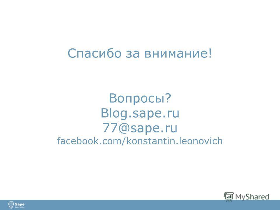 Спасибо за внимание! Вопросы? Blog.sape.ru 77@sape.ru facebook.com/konstantin.leonovich