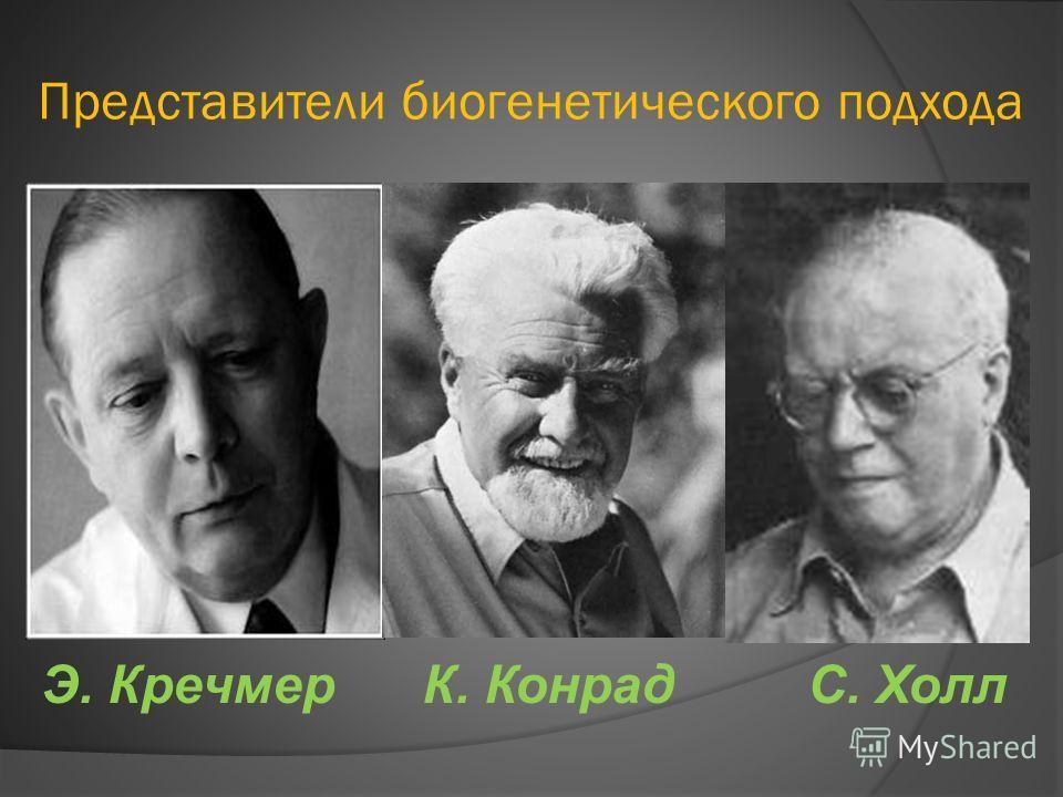 Представители биогенетического подхода Э. Кречмер К. Конрад С. Холл