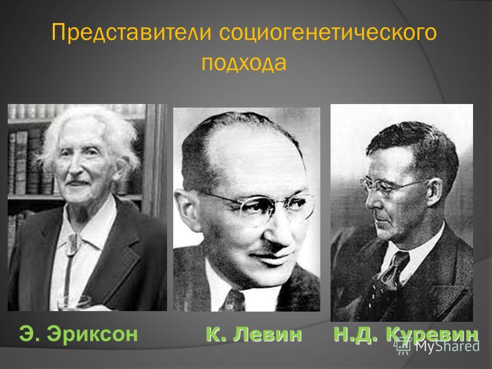 Э. Эриксон Представители социогенетического подхода К. Левин Н.Д. Куревин