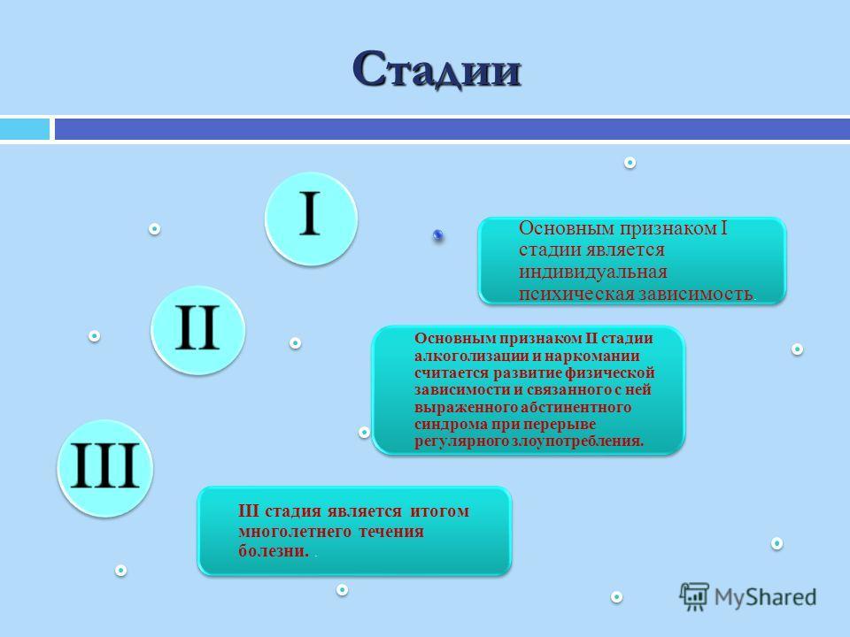 Стадии III стадия является итогом многолетнего течения болезни.. Основным признаком II стадии алкоголизации и наркомании считается развитие физической зависимости и связанного с ней выраженного абстинентного синдрома при перерыве регулярного злоупотр
