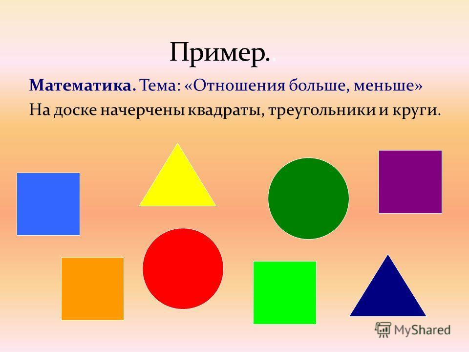 Математика. Тема: «Отношения больше, меньше» На доске начерчены квадраты, треугольники и круги.