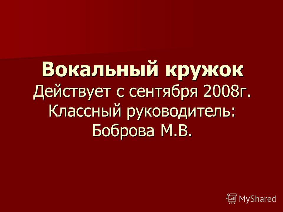 Вокальный кружок Действует с сентября 2008 г. Классный руководитель: Боброва М.В.
