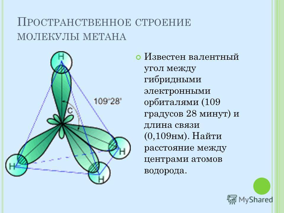 П РОСТРАНСТВЕННОЕ СТРОЕНИЕ МОЛЕКУЛЫ МЕТАНА Известен валентный угол между гибридными электронными орбиталями (109 градусов 28 минут) и длина связи (0,109 нм). Найти расстояние между центрами атомов водорода.