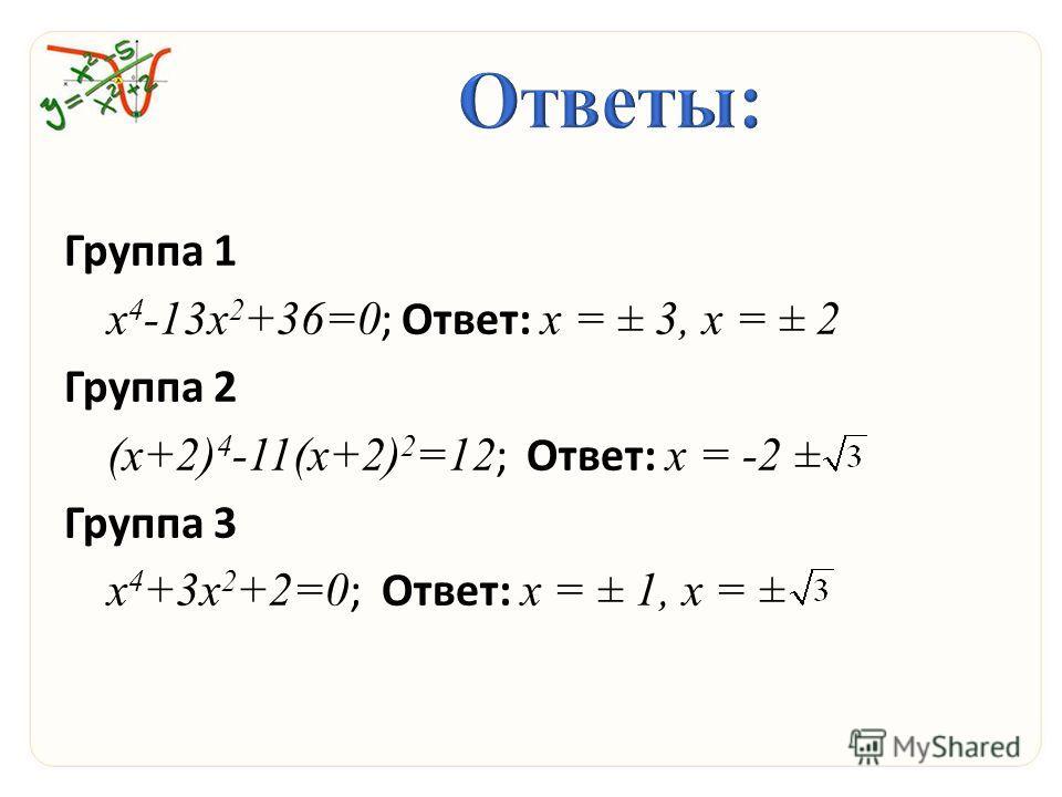 Группа 1 х 4 -13 х 2 +36=0 ; Ответ: х = ± 3, х = ± 2 Группа 2 (х+2) 4 -11(х+2) 2 =12 ; Ответ: х = -2 ± Группа 3 х 4 +3 х 2 +2=0 ; Ответ: х = ± 1, х = ±