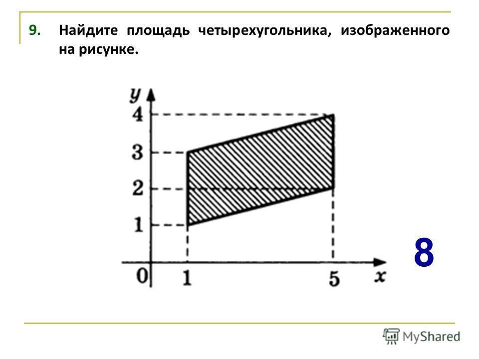 9. Найдите площадь четырехугольника, изображенного на рисунке. 8