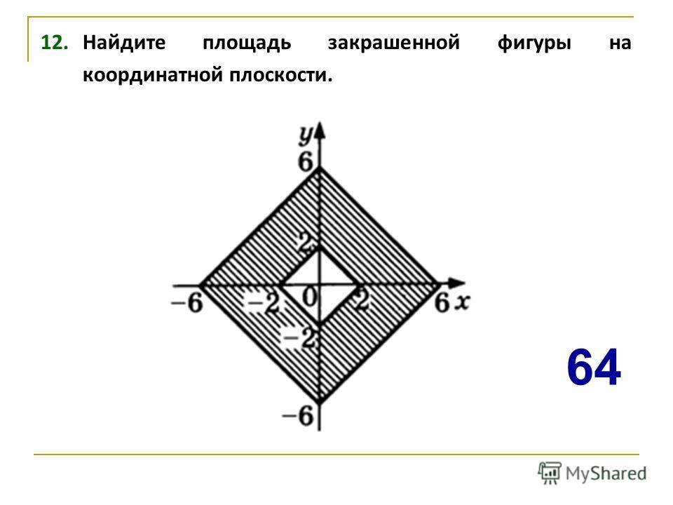 12. Найдите площадь закрашенной фигуры на координатной плоскости. 64