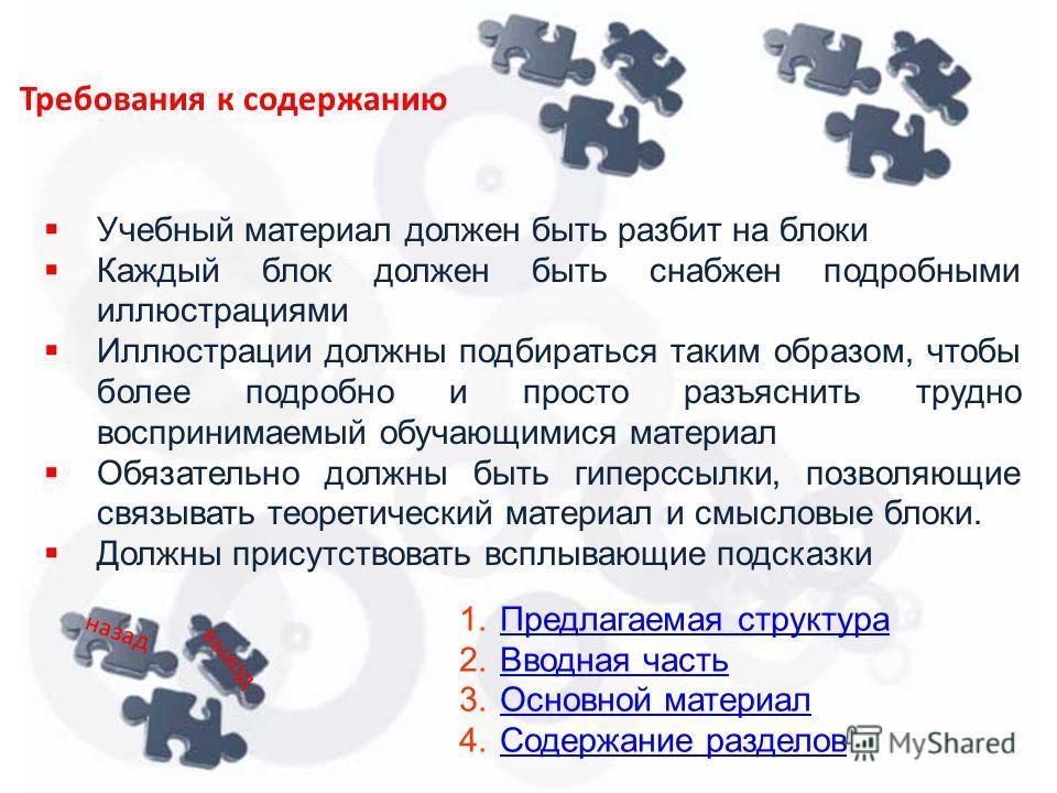 Требования к содержанию Учебный материал должен быть разбит на блоки Каждый блок должен быть снабжен подробными иллюстрациями Иллюстрации должны подбираться таким образом, чтобы более подробно и просто разъяснить трудно воспринимаемый обучающимися ма