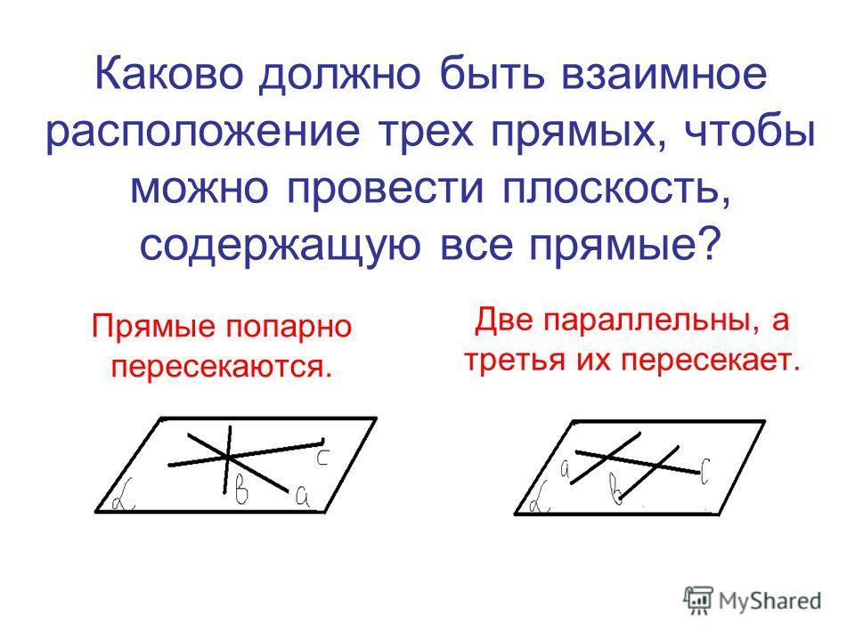 Каково должно быть взаимное расположение трех прямых, чтобы можно провести плоскость, содержащую все прямые? Прямые попарно пересекаются. Две параллельны, а третья их пересекает.