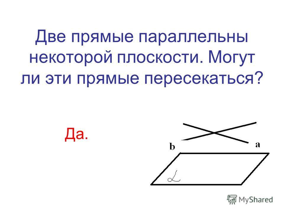 Две прямые параллельны некоторой плоскости. Могут ли эти прямые пересекаться? Да.