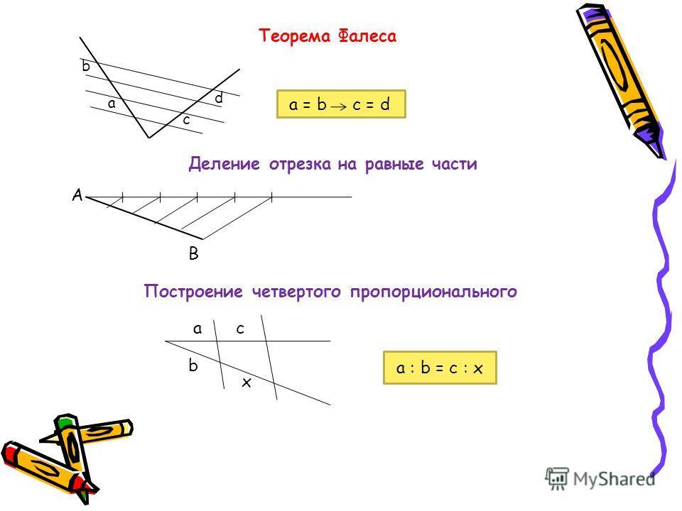 Теорема Фалеса а b с d а = b c = d Деление отрезка на равные части А В Построение четвертого пропорционального ас b x а : b = с : x
