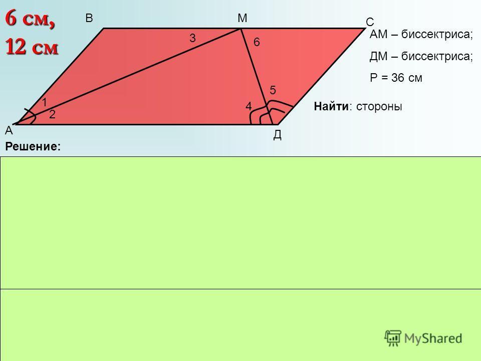 1 2 3 4 5 6 А В С Д М АМ – биссектриса; ДМ – биссектриса; Р = 36 см Решение: 1) 3 = 2, т.к. АД || ВС, а они накрест льежащие. 2) 1 = 2, т.к. АМ – биссектриса 3) 4 = 6, т.к. АД || ВС, а они накрест льежащие 4) 4 = 5, т.к. ДМ – биссектриса 5)АВ = СД т.
