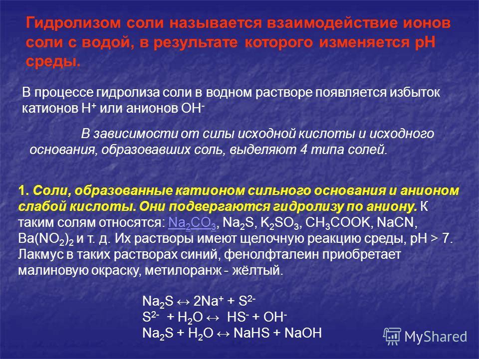 Гидролизом соли называется взаимодействие ионов соли с водой, в результате которого изменяется рН среды. В зависимости от силы исходной кислоты и исходного основания, образовавших соль, выделяют 4 типа солей. 1. Соли, образованные катионом сильного о