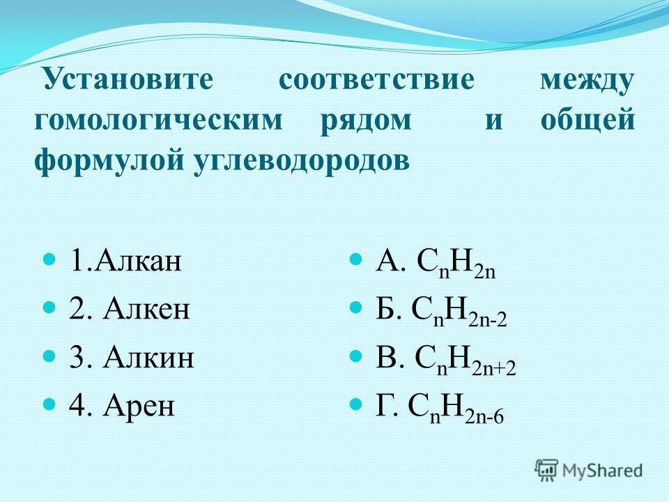 Установите соответствие между гомологическим рядом и общей формулой углеводородов 1. Алкан 2. Алкен 3. Алкин 4. Арен А. C n H 2n Б. C n H 2n-2 В. C n H 2n+2 Г. C n H 2n-6