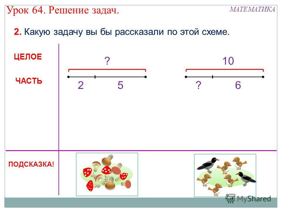 ? 25 2. Какую задачу вы бы рассказали по этой схеме. 10 ?6 ЦЕЛОЕ ЧАСТЬ ПОДСКАЗКА! МАТЕМАТИКА Урок 64. Решение задач.