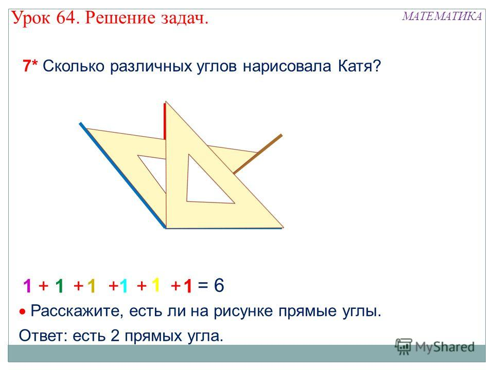 1 11 1 1 1 +++++ = 6 7* Сколько различных углов нарисовала Катя? Расскажите, есть ли на рисунке прямые углы. Ответ: есть 2 прямых угла. МАТЕМАТИКА Урок 64. Решение задач.