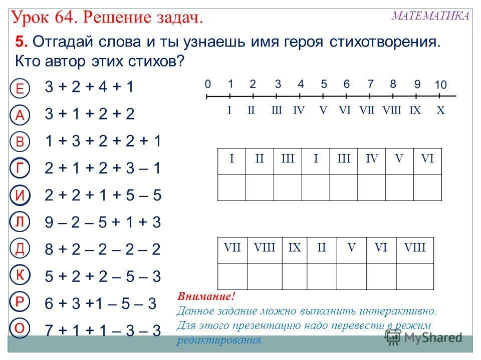 5. Отгадай слова и ты узнаешь имя героя стихотворения. Кто автор этих стихов? 3 + 2 + 4 + 1 3 + 1 + 2 + 2 1 + 3 + 2 + 2 + 1 Е А В Г 2 + 2 + 1 + 5 – 5 И 9 – 2 – 5 + 1 + 3 Л 8 + 2 – 2 – 2 – 2 Д К 5 + 2 + 2 – 5 – 3 Р 6 + 3 +1 – 5 – 3 7 + 1 + 1 – 3 – 3 О