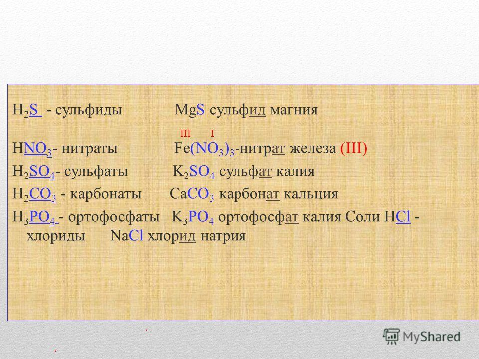 H 2 S - сульфиды MgS сульфид магния III I HNO 3 - нитраты Fe(NO 3 ) 3 -нитрат железа (III) H 2 SO 4 - сульфаты K 2 SO 4 сульфат калия H 2 CO 3 - карбонаты СaCO 3 карбонат кальция H 3 PO 4 - ортофосфаты K 3 PO 4 ортофосфат калия Соли HCl - хлориды NaC