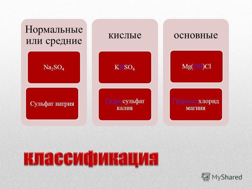 Нормальные или средние Na2SO4Сульфат натрия кислые KHSO4 Гидросульфат калия основные Mg(OH)Cl Гидроксохлорид магния