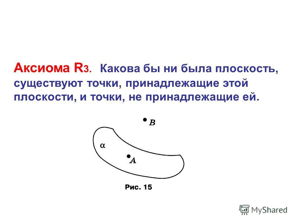 Аксиома R 3. Какова бы ни была плоскость, существуют точки, принадлежащие этой плоскости, и точки, не принадлежащие ей.