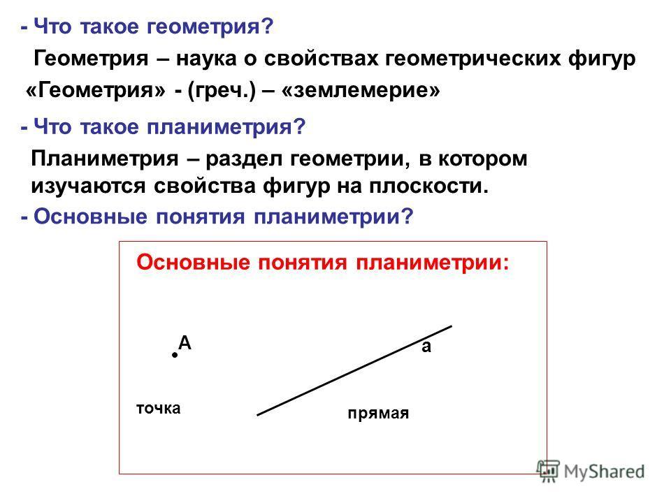 - Что такое геометрия? Геометрия – наука о свойствах геометрических фигур «Геометрия» - (греч.) – «землемерие» - Что такое планиметрия? Планиметрия – раздел геометрии, в котором изучаются свойства фигур на плоскости. А а Основные понятия планиметрии: