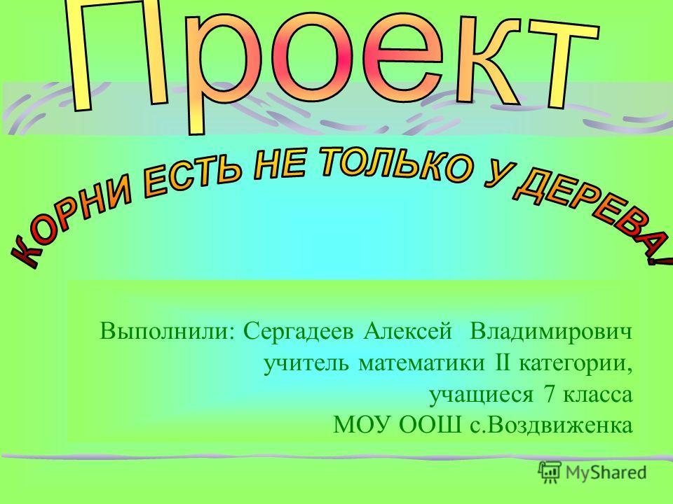 Выполнили: Сергадеев Алексей Владимирович учитель математики II категории, учащиеся 7 класса МОУ ООШ с.Воздвиженка