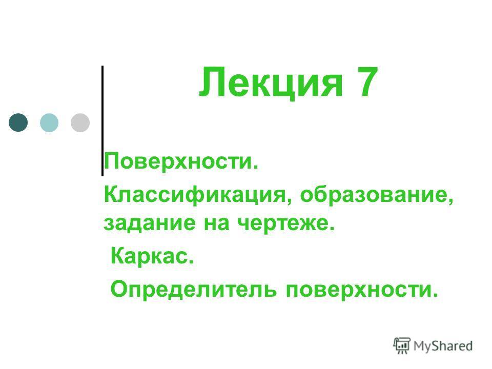 Лекция 7 Поверхности. Классификация, образование, задание на чертеже. Каркас. Определитель поверхности.