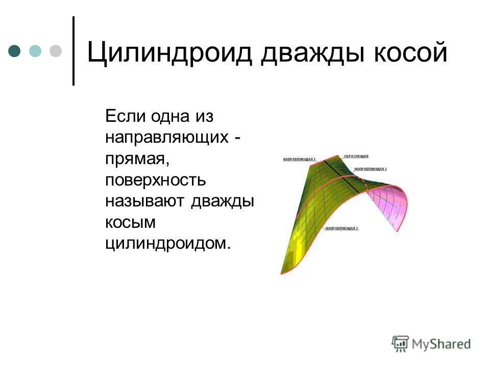 Цилиндроид дважды косой Если одна из направляющих - прямая, поверхность называют дважды косым цилиндроидом.
