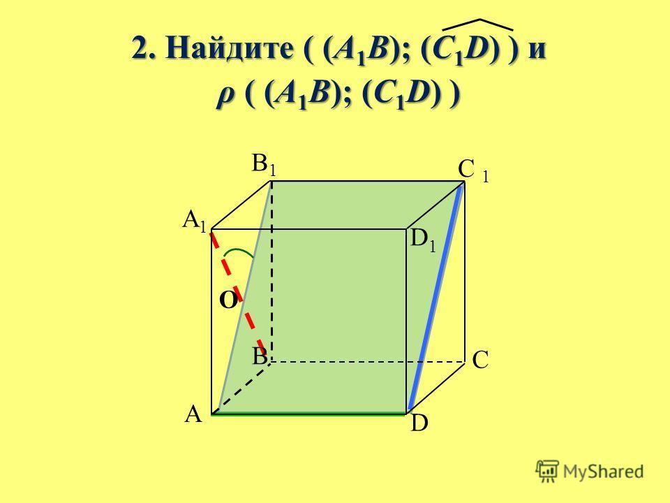 2. Найдите ( (A 1 B); (C 1 D) ) и 2. Найдите ( (A 1 B); (C 1 D) ) и ρ ( (A 1 B); (C 1 D) ) ρ ( (A 1 B); (C 1 D) ) B A C D A1A1 B1B1 C 1 D1D1 O